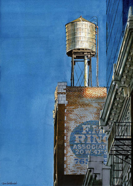 Wall Art - Painting - Water Tower At Dusk by Tom Hedderich