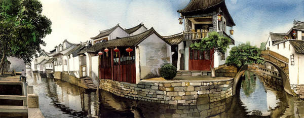 Painting - Water Village Shanghai China by Alfred Ng