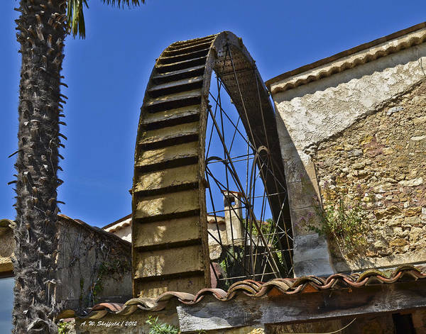 Photograph - Water Wheel At Moulin A Huile Michel by Allen Sheffield