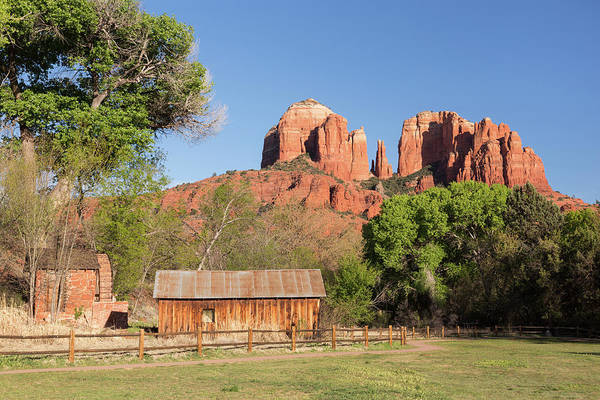 Barn Photograph - Water Wheel, Barn, And Cathedral Rock by Picturelake