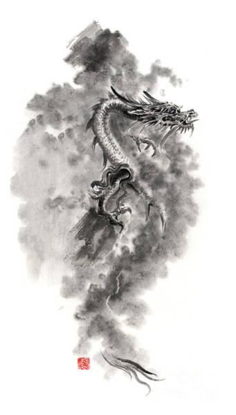 Sumi Wall Art - Painting - Water Wind Dragon Dragons Sumi-e Ink Painting Chinese Zodiac Five Elements Fantasy World Art by Mariusz Szmerdt