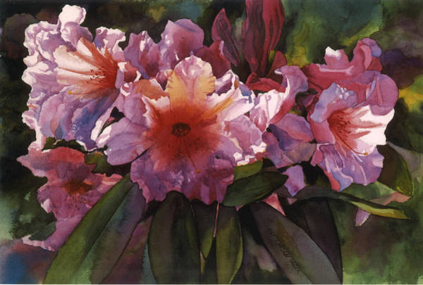 Wall Art - Painting - Watercolor Autumn Gold Rhododendron  by Pat Yager