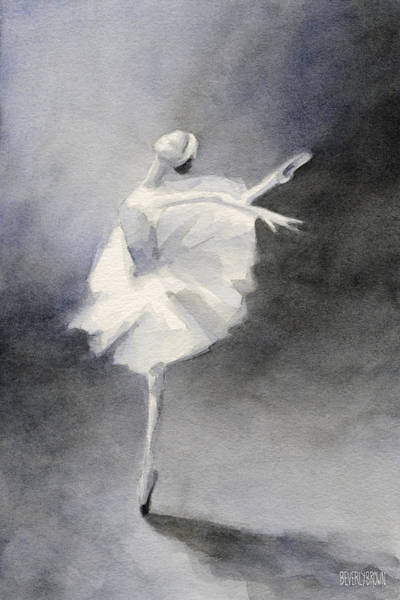Gray Painting - Watercolor Ballerina Painting by Beverly Brown