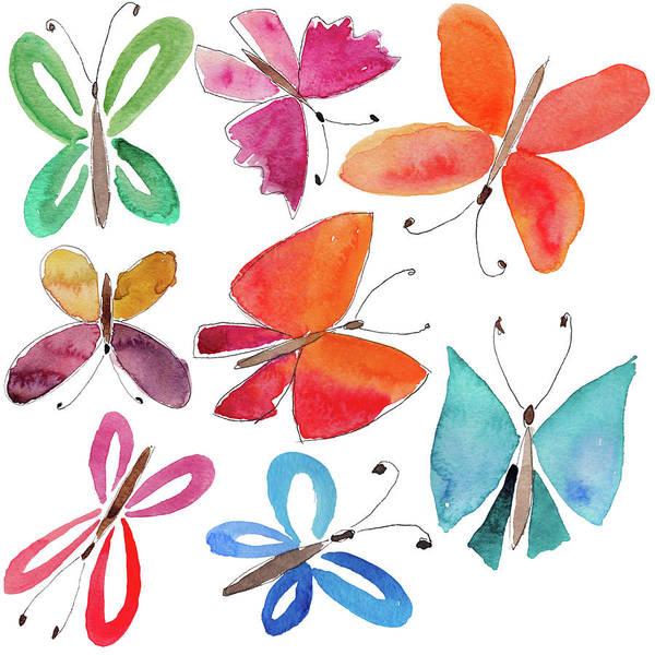 Digital Art - Watercolor Butterflies by Anndoronina