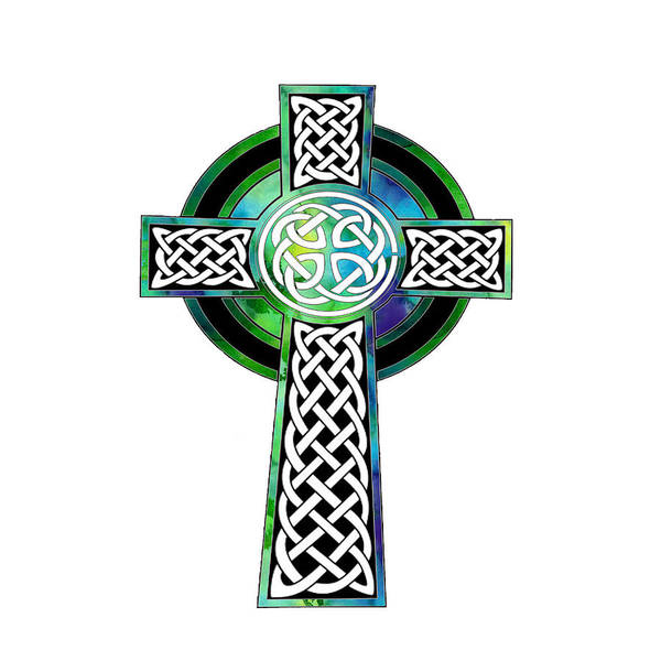 Eire Digital Art - Watercolor Celtic Cross Art by Kandy Hurley