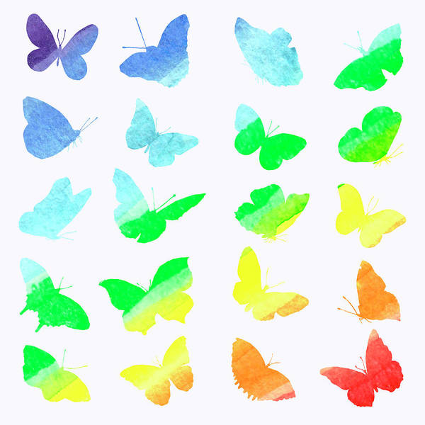 White Butterfly Digital Art - Watercolor Collection Of Silhouettes Of by Artfotogan