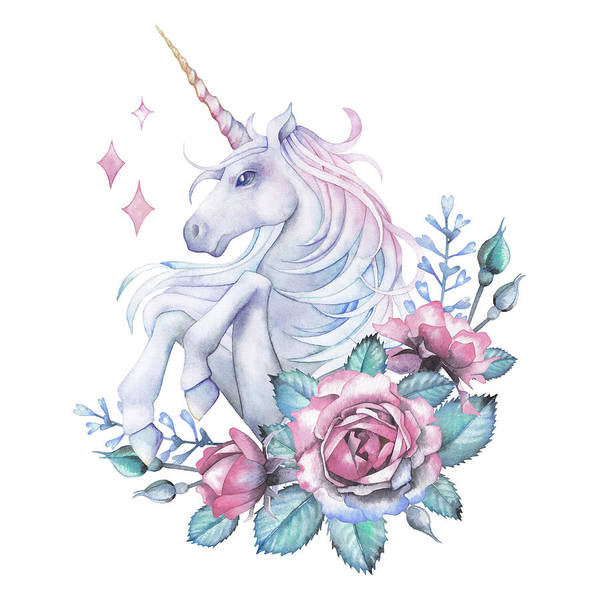 Cut-out Digital Art - Watercolor Design With Unicorn And Rose by Homunkulus28
