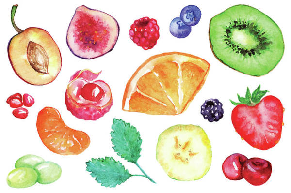 Vegetarian Digital Art - Watercolor Exotic Fruit Berry Slice Set by Silmairel