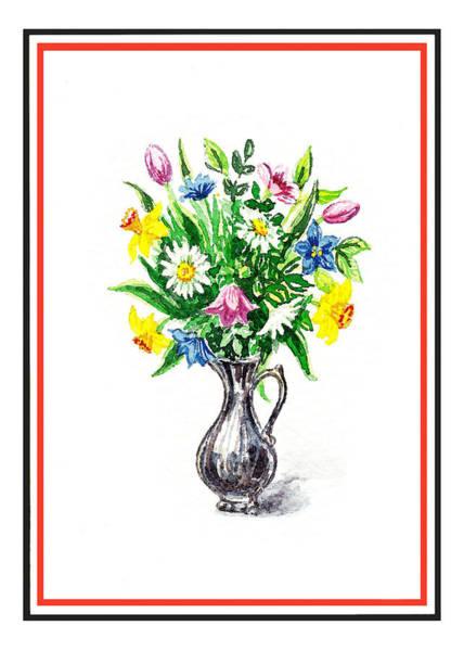 Painting - Watercolor Flowers Bouquet In Metal Pitcher Impressionism by Irina Sztukowski