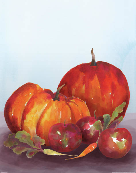 Red Apples Painting - Watercolor Harvest IIi by Wild Apple Portfolio