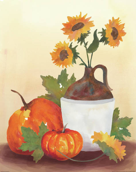 Red Apples Painting - Watercolor Harvest Sunflower I by Wild Apple Portfolio