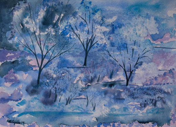 Painting - Watercolor - Icy Winter Landscape by Cascade Colors