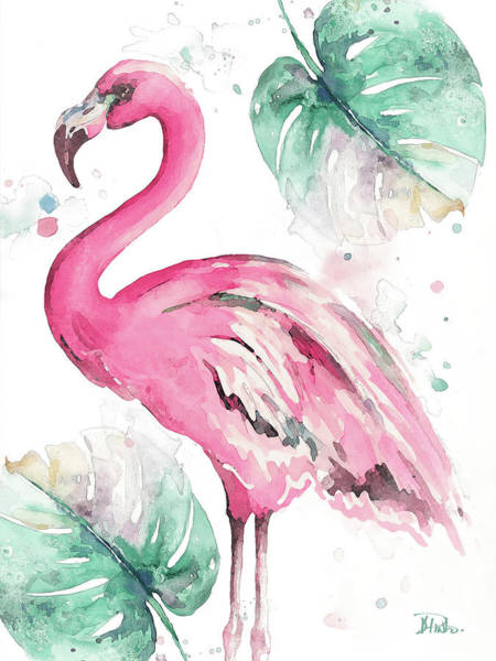 Flamingo Watercolor Painting - Watercolor Leaf Flamingo I by Patricia Pinto