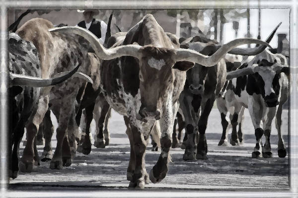 Cowboy Photograph - Watercolor Longhorns by Joan Carroll