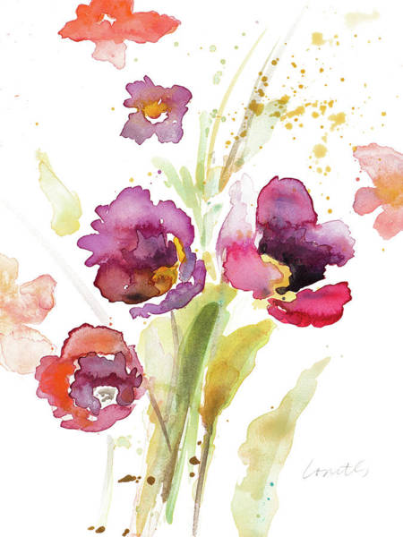 Wall Art - Painting - Watercolor Modern Poppies by Lanie Loreth