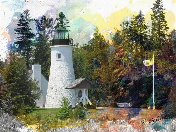 Watercolor Old Presque Lighthouse Art Print