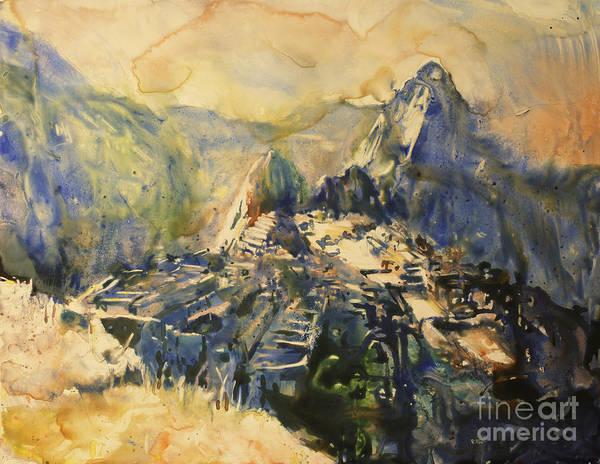 World Heritage Site Painting - Watercolor Painting Machu Picchu Peru by Ryan Fox