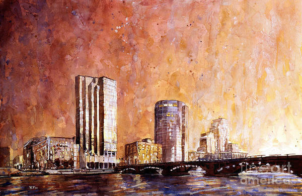 Grand Rapids Painting - Watercolor Painting Of Downtown Skyline Of Grand Rapids Michiga by Ryan Fox