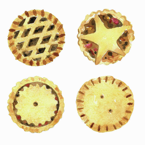 Lid Painting - Watercolor Painting Of Mince Pies by Ikon Ikon Images