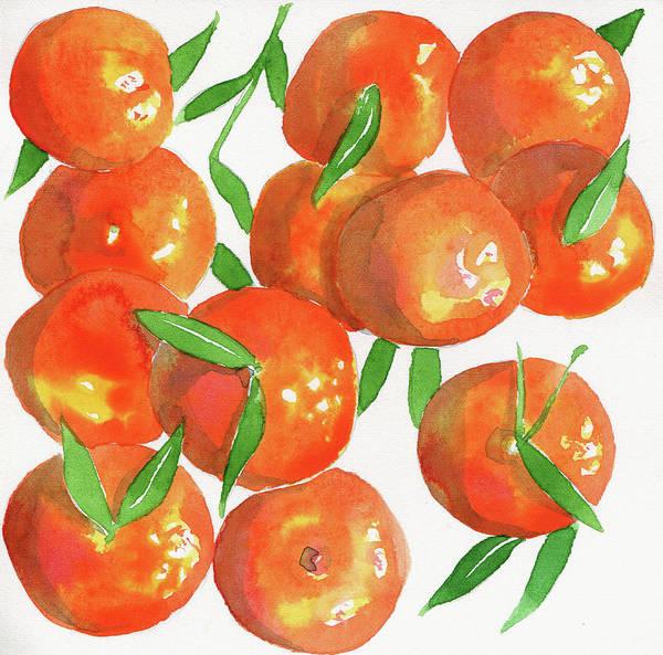 Wall Art - Painting - Watercolor Painting Of Satsuma Oranges by Ikon Ikon Images