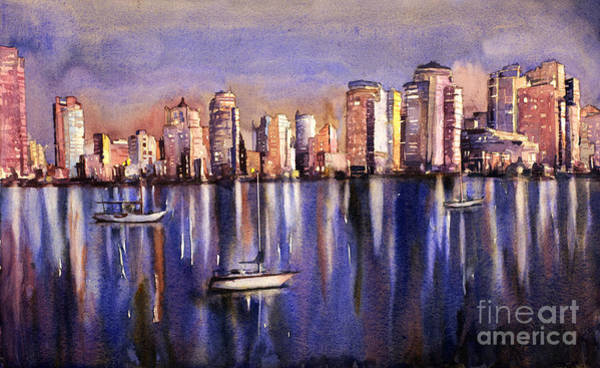 Downtown Raleigh Wall Art - Painting - Watercolor Painting Of Vancouver Skyline by Ryan Fox