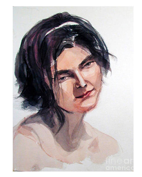 Watercolor Portrait Of A Young Pensive Woman With Headband Art Print