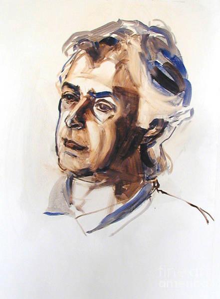 Watercolor Portrait Sketch Of A Man In Monochrome Art Print