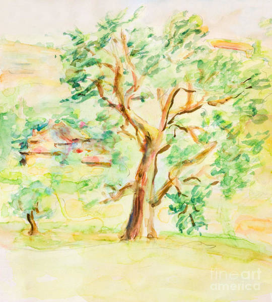 Wall Art - Painting - Watercolor Rural Summer Landscape by Kiril Stanchev