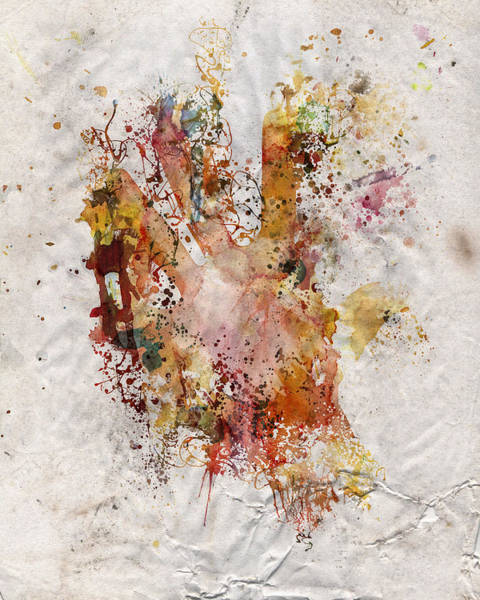 Spatter Mixed Media - Human Body Hand Watercolor Paint Old Paper by Andy Gimino