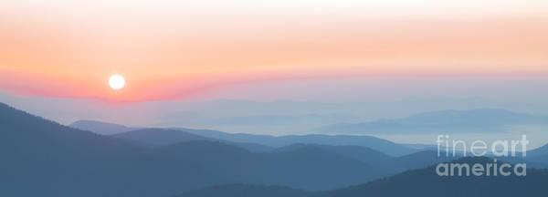 Watercolor Sunrise In The Blue Ridge Mountains Art Print
