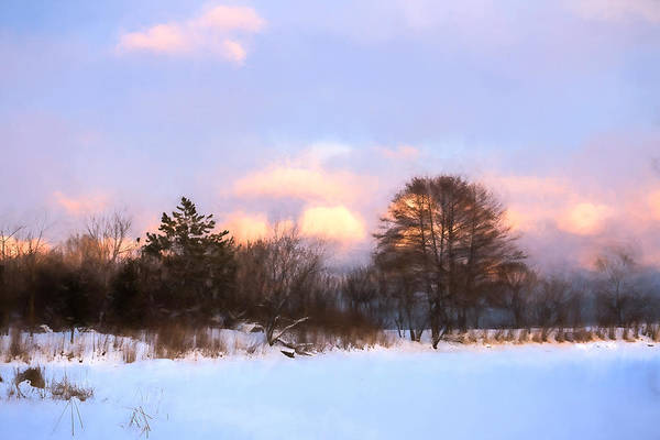 Digital Art - Watercolor Winter - Cold And Colorful Day On The Lake by Georgia Mizuleva