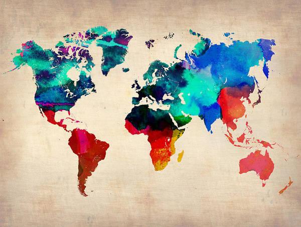 Wall Art - Painting - Watercolor World Map by Naxart Studio