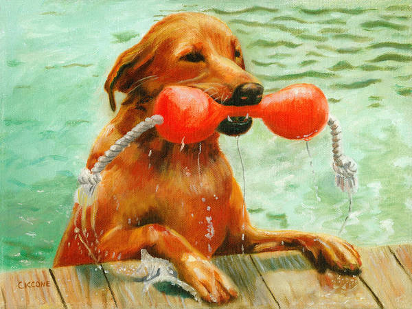 Painting - Waterdog by Jill Ciccone Pike