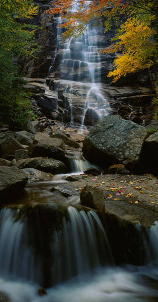 Autumn In New England Photograph - Waterfall In A Forest, Arethusa Falls by Panoramic Images