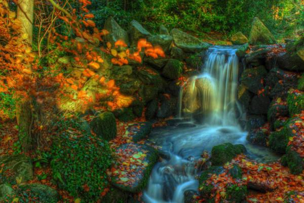 Fairy Pools Digital Art - Waterfall In Autumn Forest - Landscape by Al Kelly