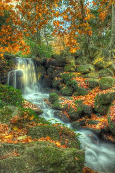 Fairy Pools Digital Art - Waterfall In Autumn Forest by Al Kelly