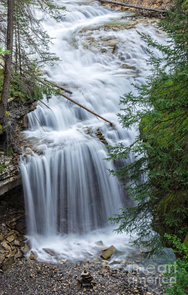 Wall Art - Photograph - Waterfall Johnston Canyon Banff National Park by Edward Fielding