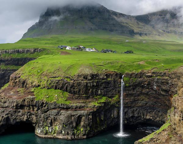 Village Creek Photograph - Waterfall Near Gasadalur, Island Vagar by Martin Zwick