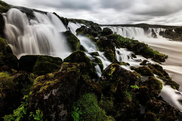 Toughness Photograph - Waterfall Pouring Over Rock Formations by Pixelchrome Inc