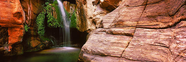 Cavern Photograph - Waterfall Rushing Through The Rocks by Panoramic Images