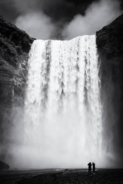 Photograph - Waterfall Skogafoss Iceland Black And White by Matthias Hauser