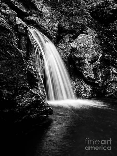 Smugglers Notch Photograph - Waterfall Stowe Vermont Black And White by Edward Fielding