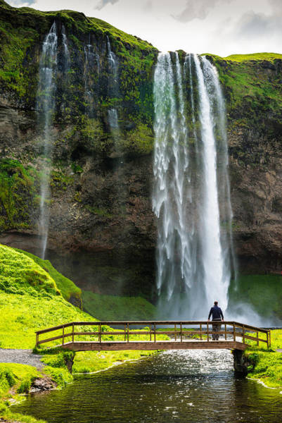 Photograph - Waterfall With River And Bridge Seljalandsfoss Iceland by Matthias Hauser