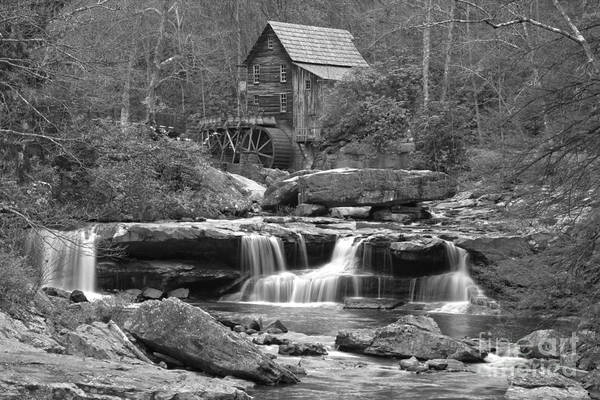Photograph - Waterfalls And A Grist Mill In Black And White by Adam Jewell