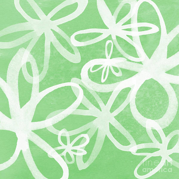 Large Wall Art - Painting - Waterflowers- Green And White by Linda Woods