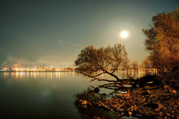 Wall Art - Photograph - Waterfront By Moonlight With Industrial by Ryan Poole