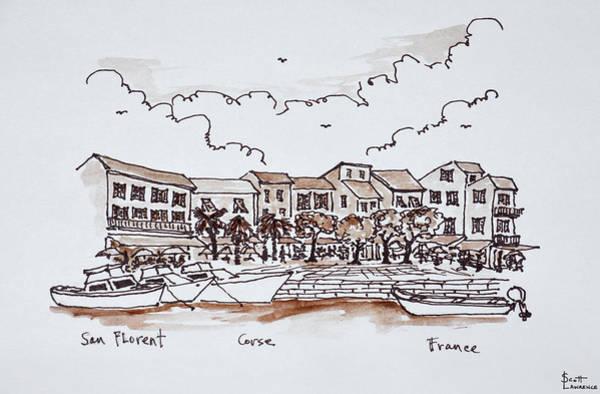 Ink Sketch Photograph - Waterfront Port, Saint-florent by Richard Lawrence