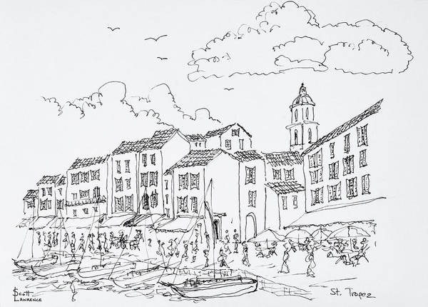 Ink Sketch Photograph - Waterfront Scenic, Saint-tropez, French by Richard Lawrence