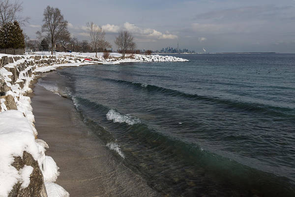 Promontory Point Photograph - Waterfront Winter - Waves Snow And Skyline by Georgia Mizuleva
