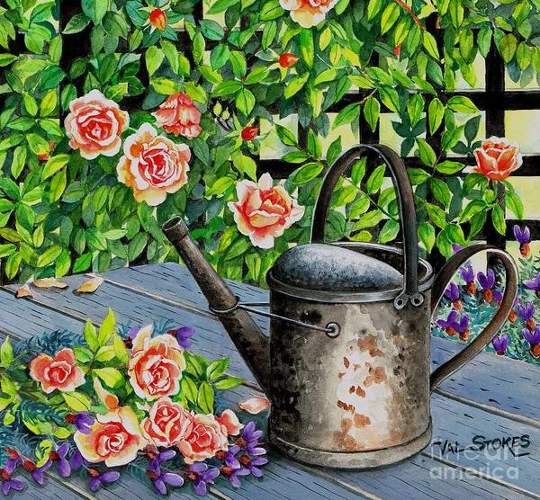 Painting - Watering Can And Roses by Val Stokes